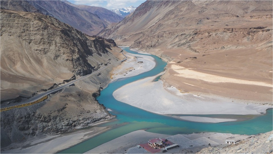 Confluence of Indus and Zanskar rivers in Ladakh